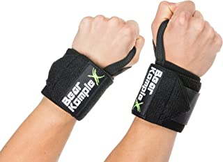 Bear KompleX Wrist Support Band Wraps for Weightlifting, Stabilizer Grip for Right and Left Hand with Thumb Hooks, Workout Aid for Crossfit and Power Lifting, 18 Inch Pair, for Both Men and Women