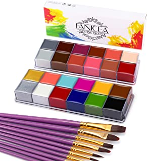 FANICEA Face Body Paint Oil 24 Colors Professional SFX Makeup Kit Hypoallergenic Non-Toxic Face Painting Palette with 10 P...