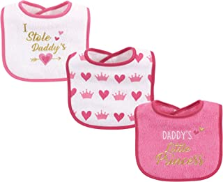 Luvable Friends Baby Drooler Bib, 3 Pack, Girl Daddy Princess, One Size