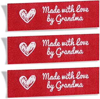 Wunderlabel Made with Love by Grandma Crafting Fashion Granny Grandmother Woven Ribbon Tag Clothing Sewing Clothes Garment Fabric Material Embroidered Label Labels Tags, White on Red, 25 Labels