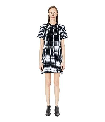 Sonia Rykiel Open Work Reverse Stripes Dress (Cobalt Noir) Women