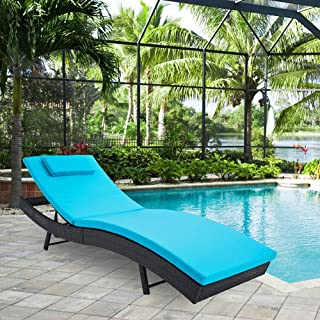 SUNCROWN Outdoor Adjustable Lounge Chair, Patio Wicker Folding Chaise Lounge, Outdoor Couch Sofa Bed with Blue Cushion
