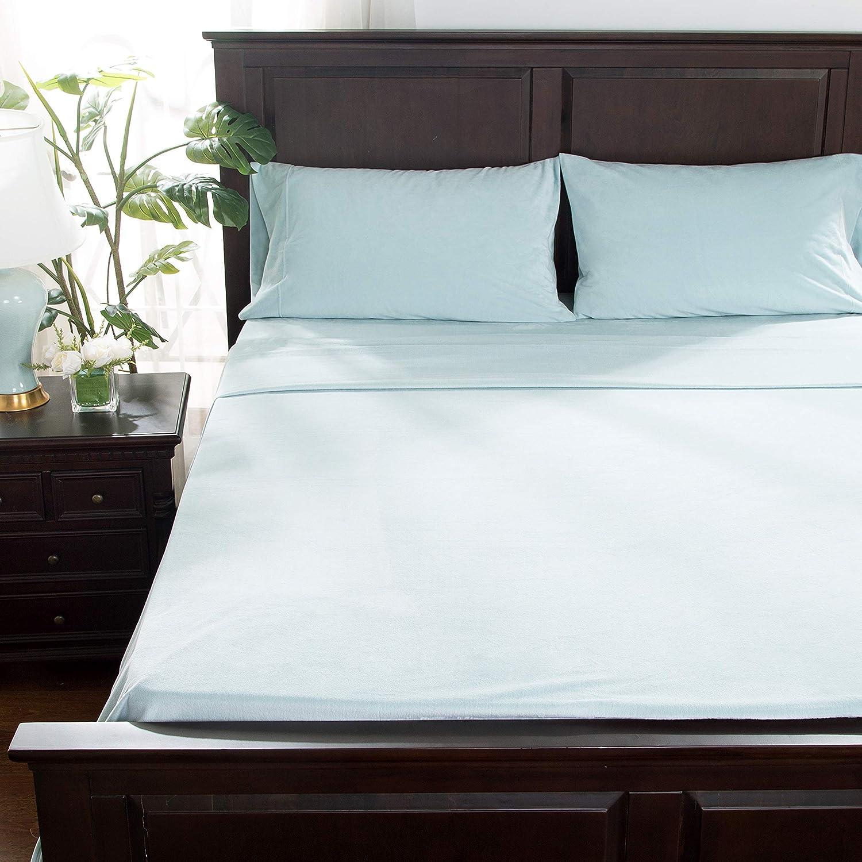 Berkshire Blanket LunaSoft Sheet Set | Super Soft Cozy Breathable Plush Sheet Set | All-Season Warmth | Spa Blue | Queen (92