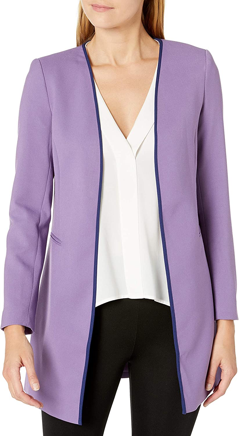 Tahari ASL Women's Open Front Topper with Contrast Piping