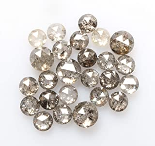 1.23 ct 2.0 mm to 2.7 mm Natural Loose Diamond Salt and Pepper Black Color 25pcs Beautiful Round Rose Cut Diamond R4006