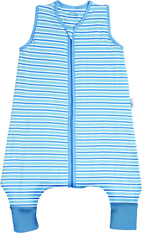 SlumberSafe Summer Sleeping Bag With Feet Early Walker 0 5 Tog Blue Stripes 24 36 Months 39 Inch