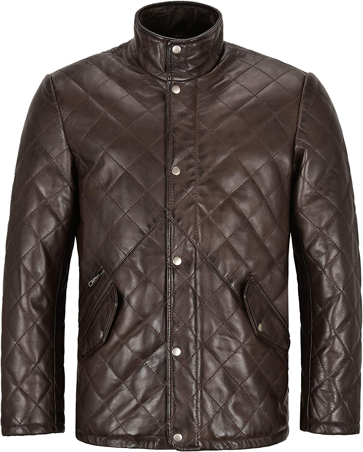 Men's Quilted Leather Jacket Brown Classic Real Lambskin 70's Fashion Jacket UK