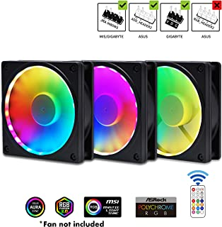 EZDIY-FAB RGB Fan Frame Fan Grill with ARGB Lighting 120mm Fan mounting with Controller(Compatible with ASUS Aura Sync, GIGABYTE RGB Fusion and MSI Mystic Light Sync)-3 Pack (Fan not Included)