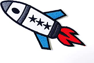 Iron on Applique//Embroidered Patch Space Rocket Ship Outerspace//Rocketship