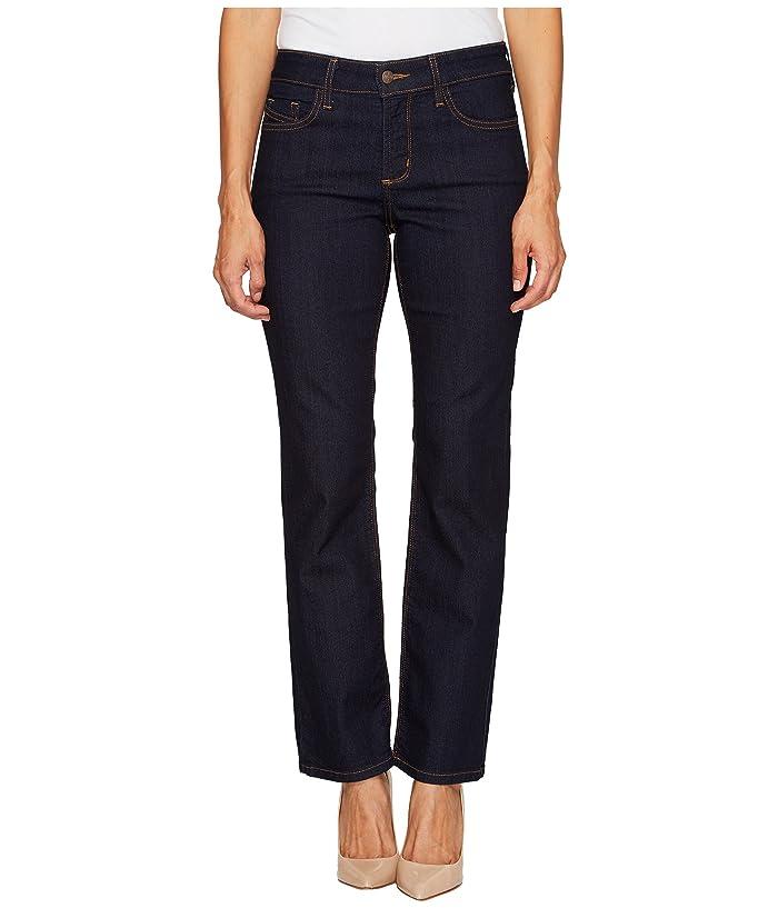 NYDJ Petite Petite Hayley Straight Contrast in Dark Enzyme (Dark Enzyme) Women's Jeans