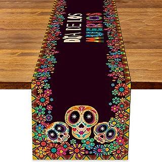 Rainlemon Camino de mesa de lino Dia De Los Muertos, diseño de calavera mexicana de azúcar para Halloween Día de los Muert...