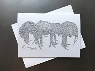 The Beatles Birthday Card with Envelope Drawn From Their Birthday Song Lyrics Contemporary Unique Music John Lennon Paul McCartney George