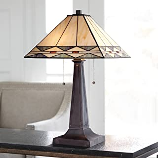 Art Deco Accent Table Lamp Mission Bronze Antique Stained Glass Shade for Living Room Family Bedroom Bedside Office - Robert Louis Tiffany
