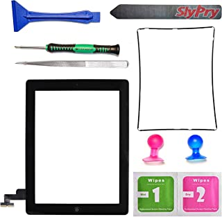 Prokit for New Black iPad 2 Digitizer Touch Screen Front Glass Assembly - Includes Home Button + Camera Holder + PreInstalled Adhesive with SlyPry tools kit
