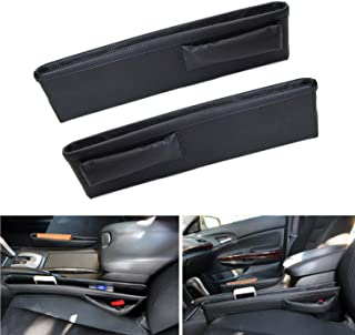iJDMTOY (2 Black Leather Extra Long Car Side Pocket Organizers, Seat Catcher Holders for Key, Wallet, Phone, Sunglasses, etc