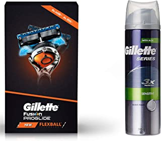 Gillette Flexball Pro Glide Gift Pack and Flexball Razor with 4 Flexball Cartridge & Series 3x Protection Sensitive Shave ...