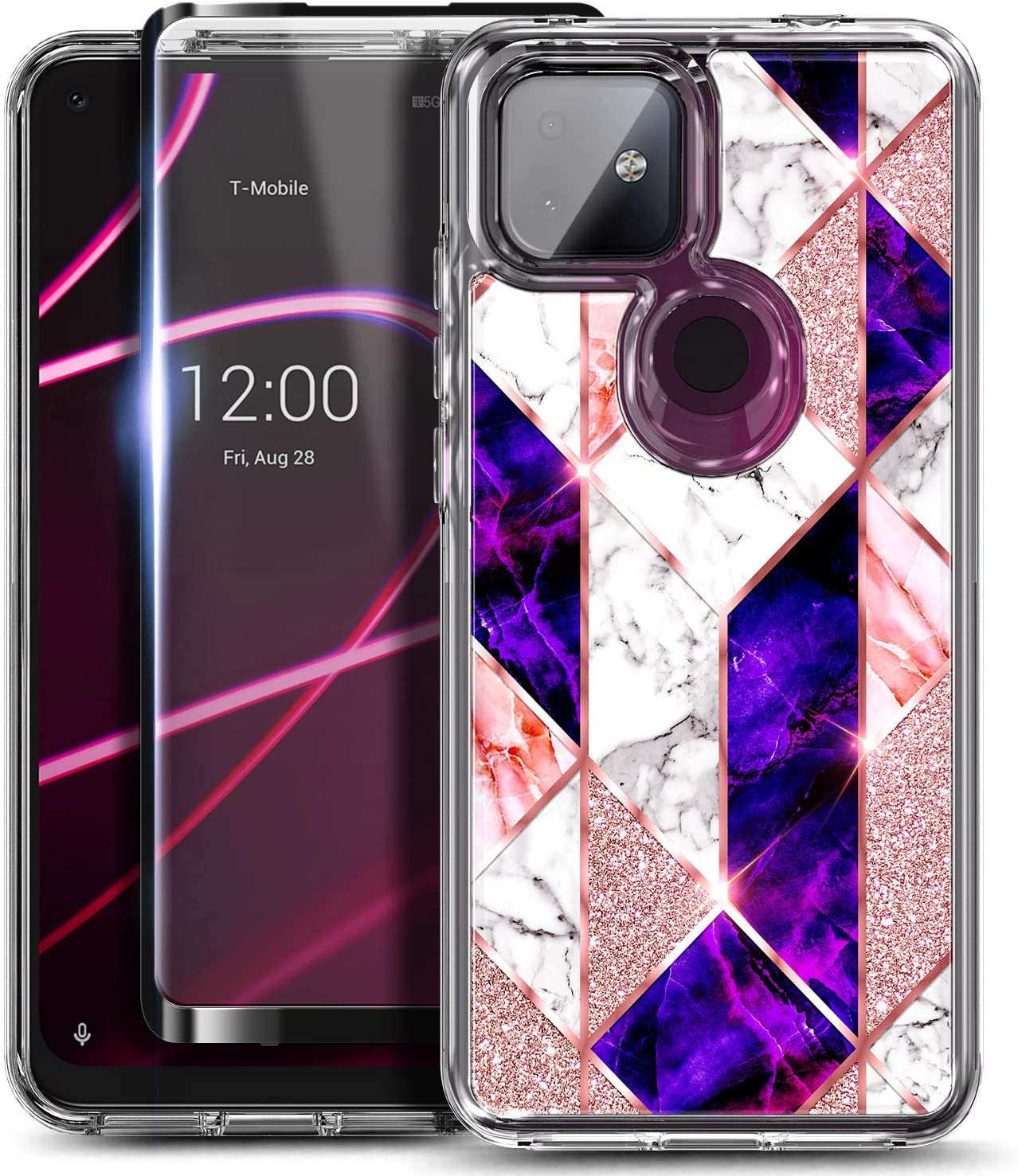 NZND Case for T-Mobile REVVL 4+ Plus with Tempered Glass Screen Protector (Full Coverage), Glossy Stylish Finish, Shockproof Protective Hybrid Bumper Case -Marble Series Rose Gold