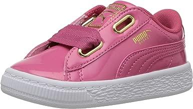 PUMA Kids' Basket Heart Patent Gold Sneaker