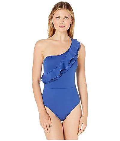 Kenneth Cole Hidden Layer One Shoulder Mio One-Piece Swimsuit (Midnight Blue) Women
