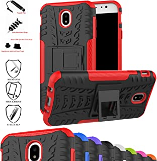 Galaxy J7 Pro J730G Case,Mama Mouth Shockproof Heavy Duty Combo Hybrid Rugged Dual Layer Grip Cover with Kickstand for Samsung Galaxy J7 Pro J730G 2017(with 4 in 1 Packaged),Red