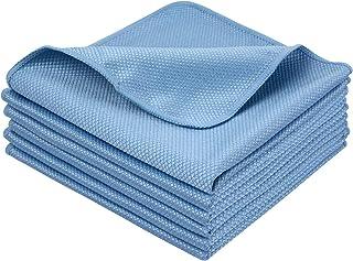 SINLAND 吸水速乾マイクロファイバーガラス拭きクロス グラスクロス キッチン食器拭きクリーニングタオル 洗車タオル 掃除クロス6枚 (ブルー, 40cmx40cm)