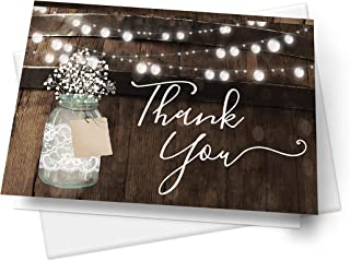 Rustic Mason Jar Thank You Cards, Rustic Elegant for Wedding Rehearsal Dinner, Bridal Shower, Engagement, Birthday, Bachelorette Party, Baby Shower, Reception, Anniversary, Housewarming