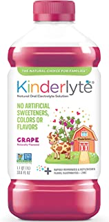 Kinderlyte   Natural Pediatric Electrolyte Solution   Doctor-Formulated for Rapid Rehydration   No Artificial Sweeteners, Colors or Flavors   Kid-Friendly Taste  1 Bottle, 33.8 oz   Grape