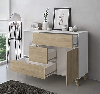 SelectionHome - Mueble Aparador Salon Comedor 1 Puerta y 3 cajones Buffet modelo Wind color Blanco y Puccini Medidas: ...