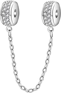 SOUKISS Clasp Safety Chain Charms 925 Sterling Silver Clear Cubic Zirconia Clip Safety Chain Charms Fits DIY Bracelet