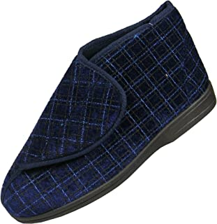 Mens Navy Blue Check Orthopaedic Washable Velcro Boots Slippers with Grip