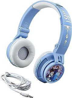 Disney Frozen 2 Wireless Bluetooth Portable Kids Headphones with Microphone, Anna & Elsa Volume Reduced To Protect Hearing Stream Disney Plus, Adjustable Kids Headband for School Home Travel