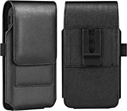 BECPLT iPhone Xs MAX Holster Case, iPhone 8 Plus 7 Plus Belt Clip Case, Premium Leather Holster Pouch Case Belt Clip with Card Holder for iPhone Xs Max / 6 Plus/ 6S Plus (Fit w/Thin Case on) (Black)
