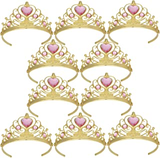 XiangGuanQianYing Tiaras and Crowns for Little Girls Crowns and Tiaras for Child from 3 Years Up Party Favors Pink Tiara Plastic Gold Tiara(10 Pack)