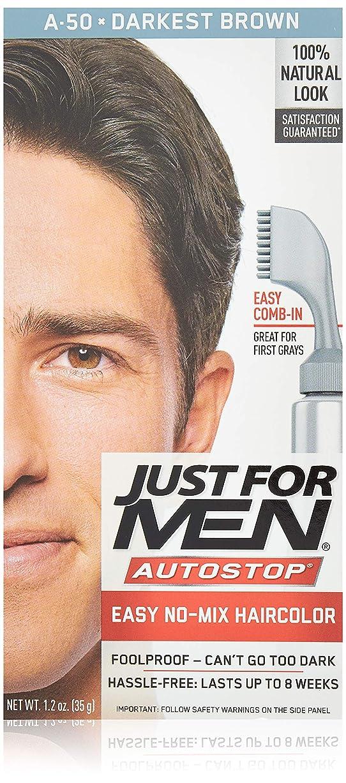 分配しますランドマーク序文Just for Men オートストップヘアカラー - ダーケスト?ブラウンA-50ヘアカラー男性1つのアプリケーション(3パック)