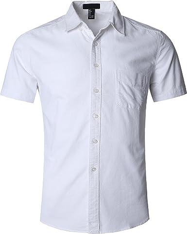 SOOPO Camisa Hombre Manga Corta Camisa Unicolor Estampada Camisa de Vestir Camiseta Casual, Diversos Estilos y Tallas