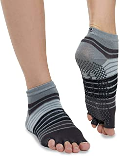 gaiam, Calcetines de yoga Gaiam – Accesorios antideslizantes para hombres y mujeres - 05-62655, Sin dedos., S-M, Gris/Negro