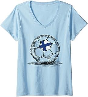 Womens Finland Finnish Finn Flag Design On Soccer Ball Football V-Neck T-Shirt