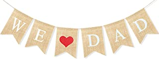 Uniwish We Love Dad Banner Burlap Bunting Rustic Papa Gift Happy Father's Day Birthday Party Decorations for Men