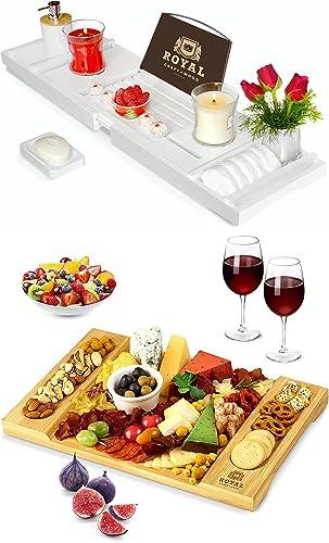 ROYAL CRAFT WOOD Luxury Bathtub Caddy Tray (White) and Charcuterie Board