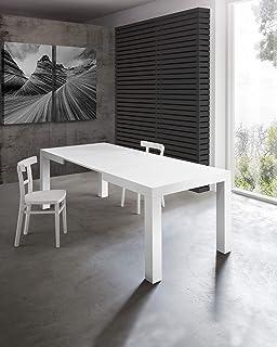 Table extensible moderne, modèle Morfe, finition blanc frêne, 120 x 80 cm, hauteur 75 cm, avec 2 rallonges de 40 cm, exten...