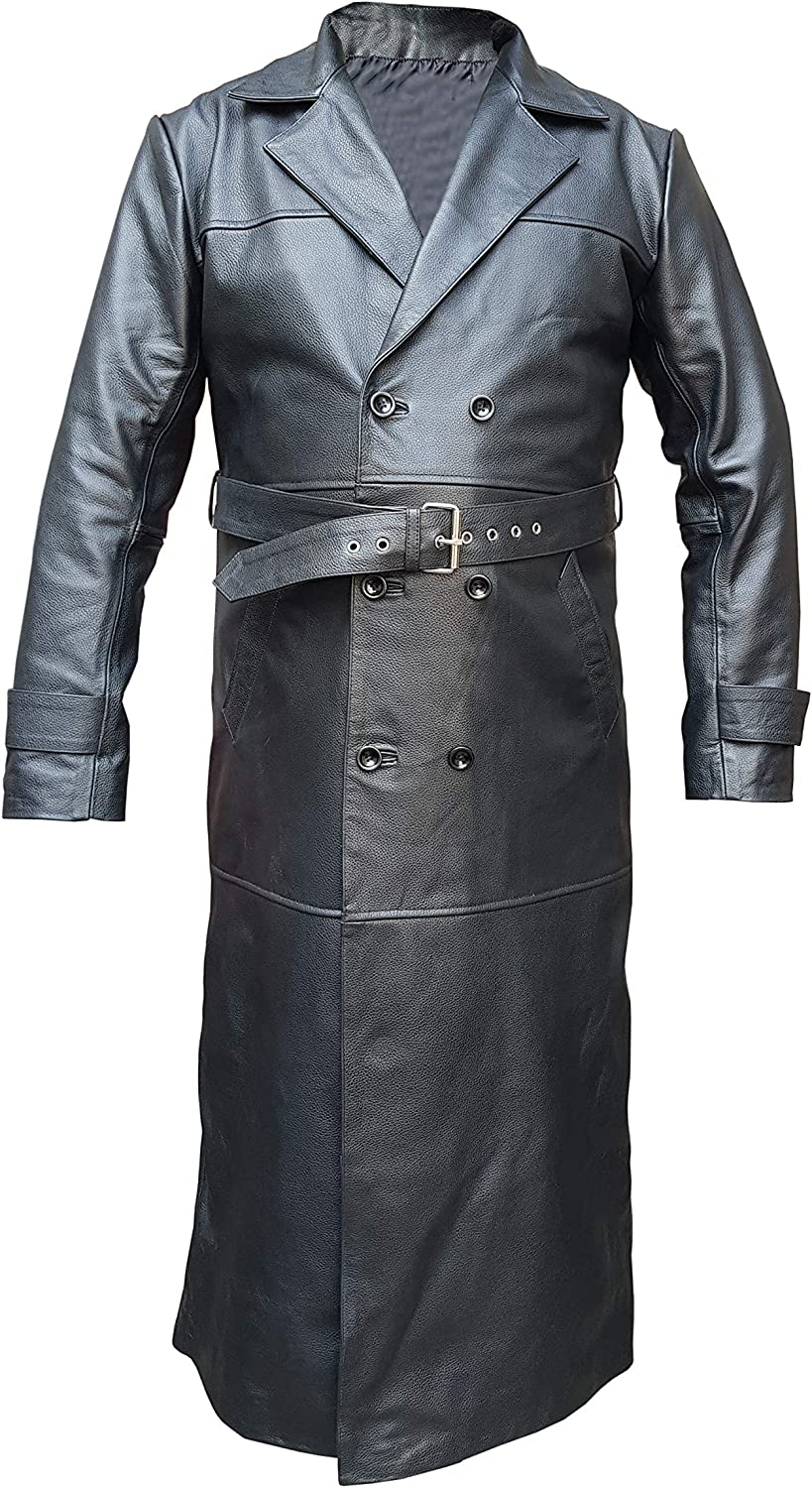 Trench Coat Real Black Leather Full Length Double Breast Jacket for Mens
