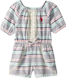 Yarn-Dye Stripe Rayon Multi Romper (Little Kids)