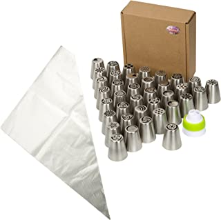 Joinor Super Value Of 42PCS Stainless Steel Russian Icing Tips Piping Nozzles Reusable Pastry Icing Bags Nozzles Coupler Set (Includes: 37 Icing Tips + 1 Coupler + 4 Pastry Bags)