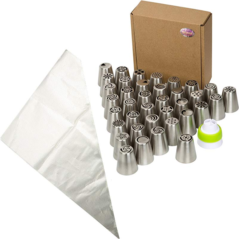 Joinor Super Value Of 42PCS Stainless Steel Russian Icing Tips Piping Nozzles Reusable Pastry Icing Bags Nozzles Coupler Set Includes 37 Icing Tips 1 Coupler 4 Pastry Bags