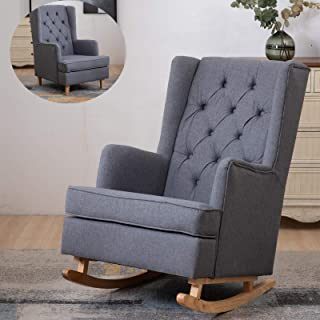 2 in 1 Modern Rocking Chair,Kerrogee Mid Century Accent Fabric Glider Rocker, Wingback Upholstered Chairs with Dual-use Re...