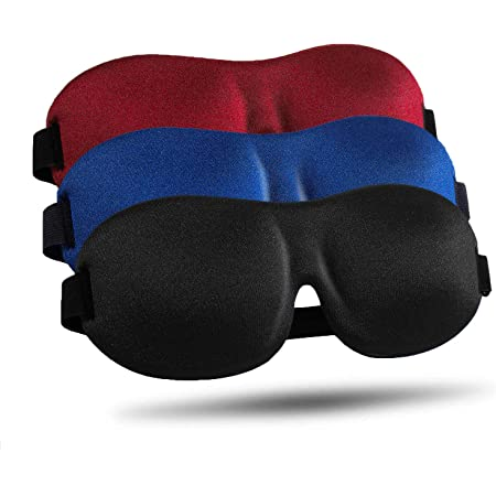 Sleep Mask 3 Pack, Upgraded 3D Contoured 100% Blackout Eye Mask for Sleeping with Adjustable Strap, Comfortable & Soft Night Blindfold for Women Men, Eye Shades for Travel/Naps, Black/Red/Blue