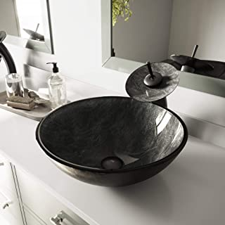 "VIGO Handmade Gray Onyx SIlver and White 16"" Diameter Tempered Glass Vessel Vanity Bathroom Sink"
