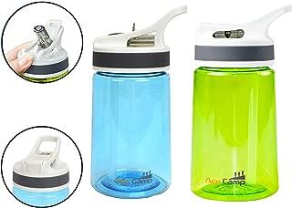 AceCamp 2-Pack 12 Oz Portable Kids Water Bottle, Eastman Tritan Toddler Water Bottle with Dust Guard & Hanging Loop, BPA Free Leakproof Plastic Water Bottle for Outdoor, Sports, School (Blue & Green)