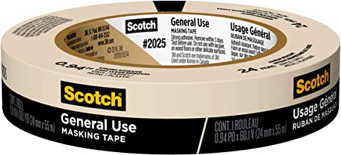 3M Scotch 2025-24C Masking Tape for Basic Painting.94-Inch by 60.1-Yard