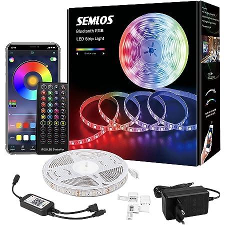 Loekoicy - Tira de luces LED 5050 RGB (300 ledes, aplicación controlable y mando a distancia, IP65, resistente al agua, tira LED autoadhesiva, para dormitorio, TV, fiesta, clase energética A+)